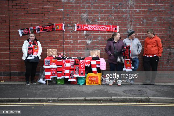 Merchandise is seen for sale outside the stadium prior to the Premier League match between Sheffield United and Manchester United at Bramall Lane on...