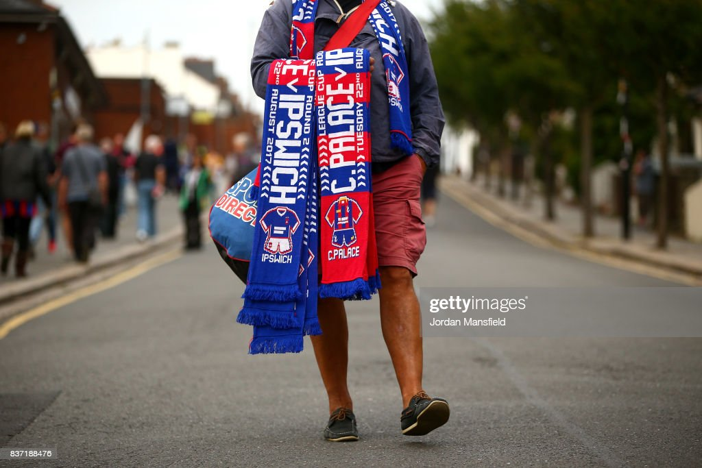 Merchandise is seen for sale prior to the Carabao Cup Second Round match between Crystal Palace and Ipswich Town at Selhurst Park on August 22, 2017 in London, England.