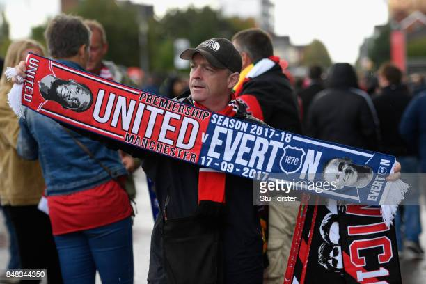 Merchandise is seen for sale prior to the Premier League match between Manchester United and Everton at Old Trafford on September 17 2017 in...