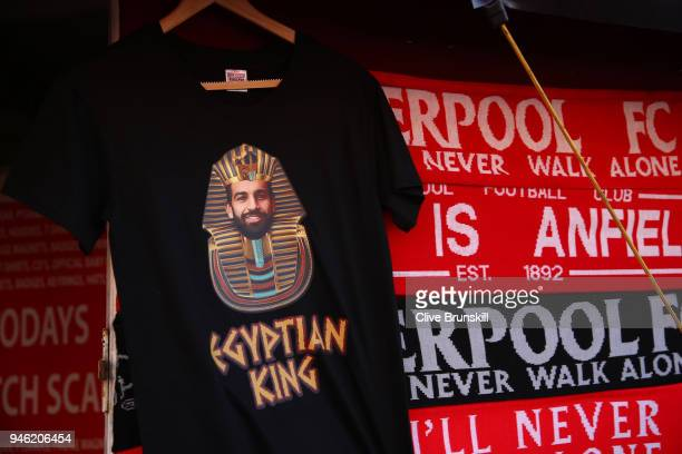 Merchandise is seen for sale prior to the Premier League match between Liverpool and AFC Bournemouth at Anfield on April 14 2018 in Liverpool England