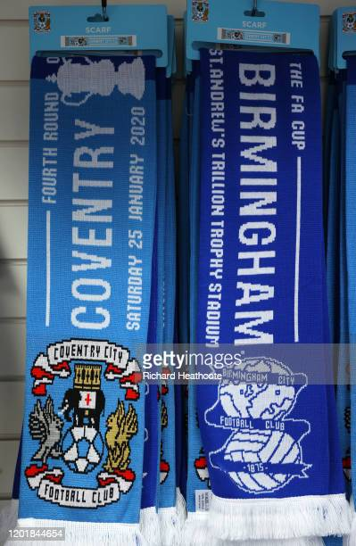 Merchandise is seen to be sold outside the stadium prior to the FA Cup Fourth Round match between Coventry City and Birmingham City at St Andrew's...