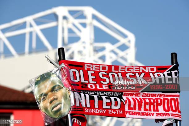 Merchandise is sold outside the stadium during the Premier League match between Manchester United and Liverpool FC at Old Trafford on February 24...