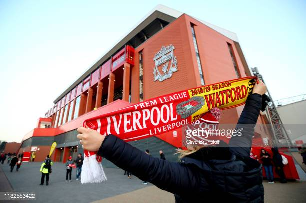 Merchandise is sold outside the stadium during the Premier League match between Liverpool FC and Watford FC at Anfield on February 27 2019 in...