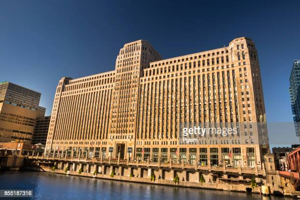 Merchandise Mart on the Chicago River in Illionois USA