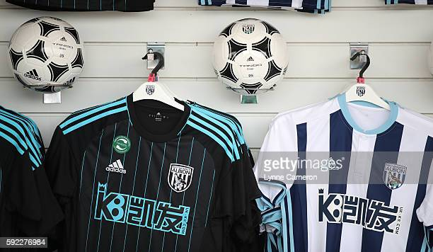 Merchandise on sale in the Club shop before the Premier League match between West Bromwich Albion and Everton at The Hawthorns on August 20 2016 in...