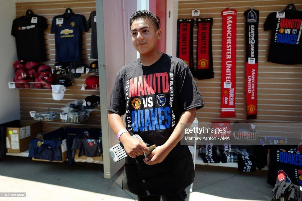 Merchandise sellers wearing commemorative T-shirts priori to the Pre-Season match between Manchester United v San Jose Earthquakes at Levi's Stadium on July 22, 2018 in Santa Clara, California.