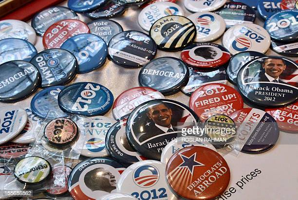 Merchandise showing US President Barack Obama are displayed for sale during a US presidential election party at a bar in Sydney on November 7 2012...