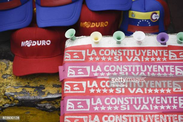 Merchandise sits on display for sale during a progovernment rally in Caracas Venezuela on Thursday July 27 2017 True to his threat Venezuelan...