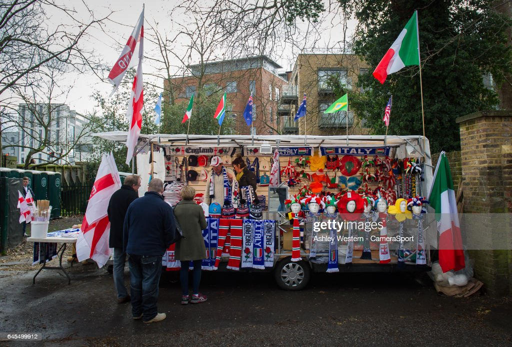 A merchandise stall near Twickenham station before the RBS Six Nations Championship match between England and Italy at Twickenham Stadium on February 26, 2017 in London, England.