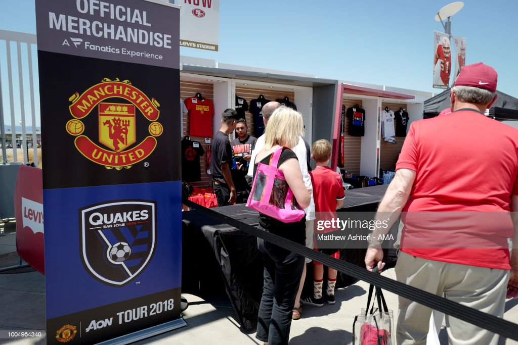 Merchandise stalls priori to the Pre-Season match between Manchester United v San Jose Earthquakes at Levi's Stadium on July 22, 2018 in Santa Clara, California.
