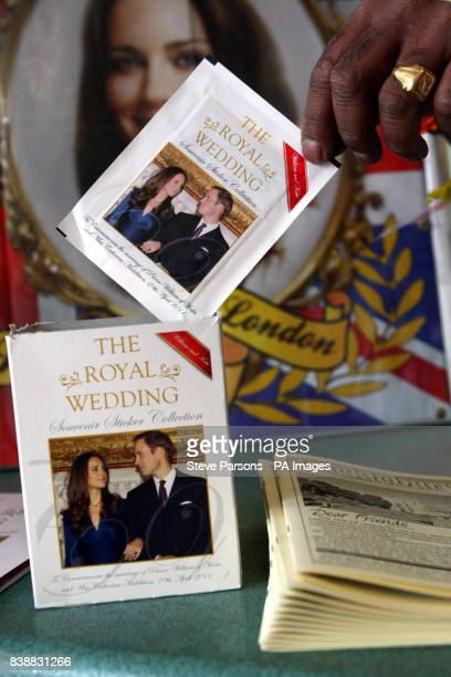 Merchandising for the wedding of Prince William and Kate Middleton for sale in a Spar shop in Upper Bucklebury