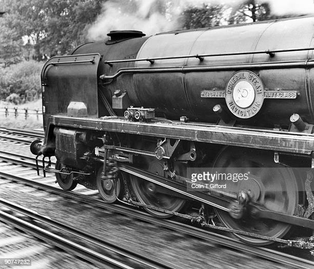 Merchant Navy Class 4-6-2 No 35011 'General Steam Navigation' in Clapham Cutting with a Waterloo-Bournemouth train. Photograph by Colin T Gifford.