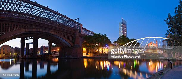 merchants bridge and an old railroad trestle in castlefield - manchester england stock pictures, royalty-free photos & images