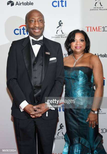 Merck and Co Chairman and CEO Kenneth Frazier and Andrea Frazier attend the 2018 Time 100 Gala at Jazz at Lincoln Center on April 24 2018 in New York...