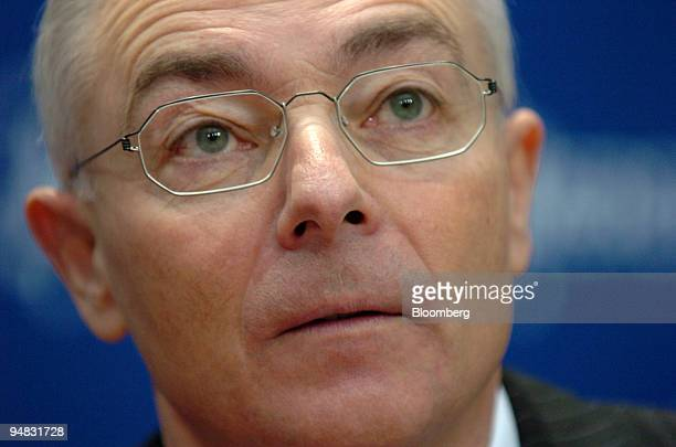 Merck Chief Executive Bernhard Scheuble speaks during a press conference in Darmstadt Germany Thursday February 17 2005 Merck KGaA Germany's No 4...