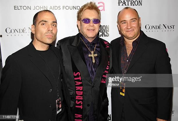 Merck Mercuriadis Sir Elton John and Richard D Beckman President of Conde Nast Media Group at Conde Nast Media Group presents Elton John and the...