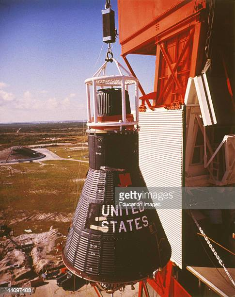 Mercury 9 Being Raised Atop Atlas 93D For A 4 1/2 Flight 11/61