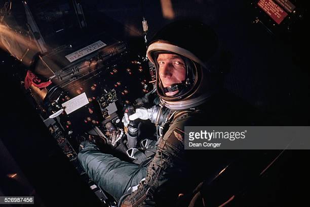 Mercury astronaut Scott Carpenter rides in a flight simulator at the astronaut training center at Langley Field Virginia   Location Langley Field...