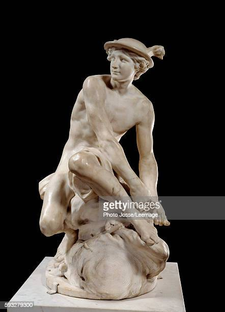 Mercury Attaching his Winged Sandals 1744 by JeanBaptistePigalle Louvre Paris France