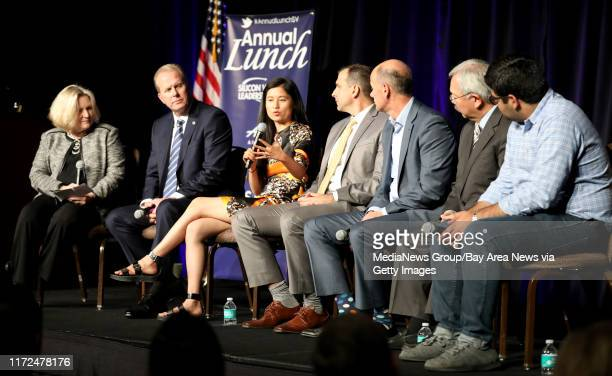 Mercury News opinion and editorial editor Barbara Marshman moderates a panel discussion with San Diego Mayor Kevin Faulconer CEO and Founder Julia Hu...