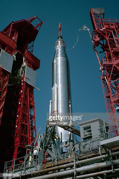 A MercuryAtlas rocket stands on a launch pad at Cape Canaveral Air Force Station Launch Complex 14 Florida May 1963