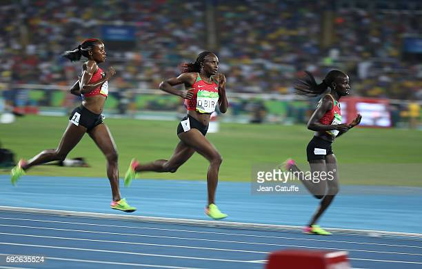 Mercy Cherono Hellen Onsando Obiri and Vivian Jepkemoi Cheruiyot of Kenya compete in the Women's 5000m on day 14 of the Rio 2016 Olympic Games at...