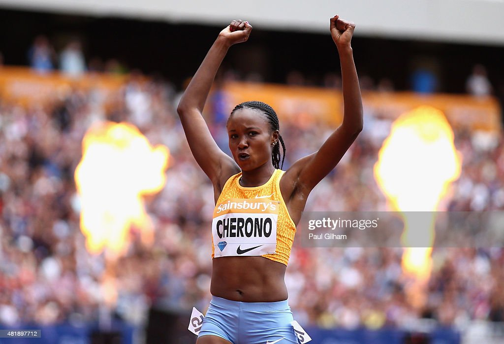 Mercy Cherono of Kenya celebrates as she crosses the line to win the Womens 5000m during day two of the Sainsbury's Anniversary Games at The Stadium - Queen Elizabeth Olympic Park on July 25, 2015 in London, England.