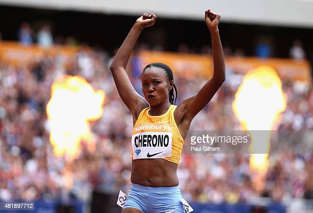 Mercy Cherono of Kenya celebrates as she crosses the line to win the Womens 5000m during day two of the Sainsbury's Anniversary Games at The Stadium...