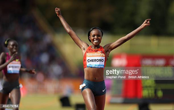Mercy Cherono of Kenya celebrates winning the Women's 2 Mile event during the Sainsbury's Birmingham Grand Prix Diamond League event at Alexander...