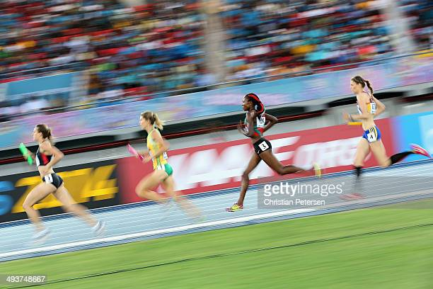 Mercy Cherono of Kenya competes in the Women's 4x1500 metres relay final during day one of the IAAF World Relays at the Thomas Robinson Stadium on...
