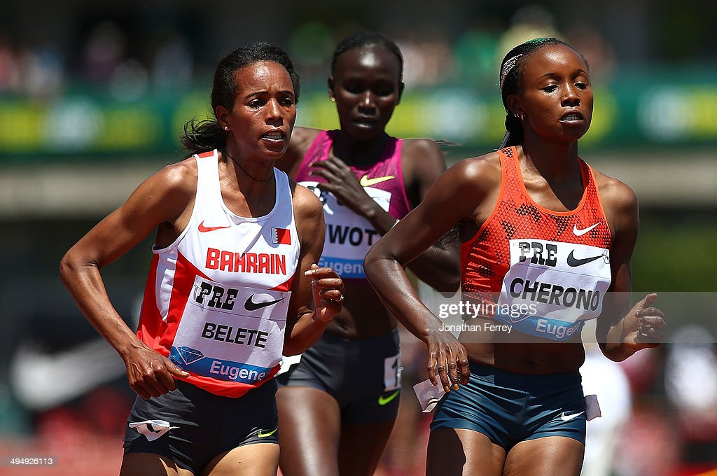 Mercy Cherono of Kenya leads the 2-Mile race during day 2 of the IAAF Diamond League Nike Prefontaine Classic on May 31, 2014 at the Hayward Field in Eugene, Oregon.