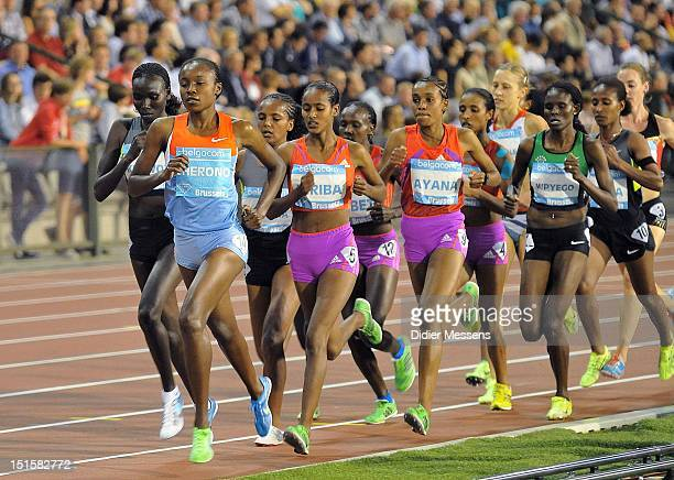 Mercy Cherono of Kenya leads the field on her way to second place during the 5000m Women's race during the Memorial Van Damme IAAF Samsung Diamond...