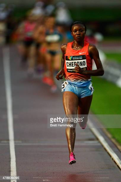 Mercy Cherono of Kenya leads the Womens 5000m event during the Sydney Track Classic at Sydney Olympic Park Sports Centre on March 15, 2014 in Sydney,...