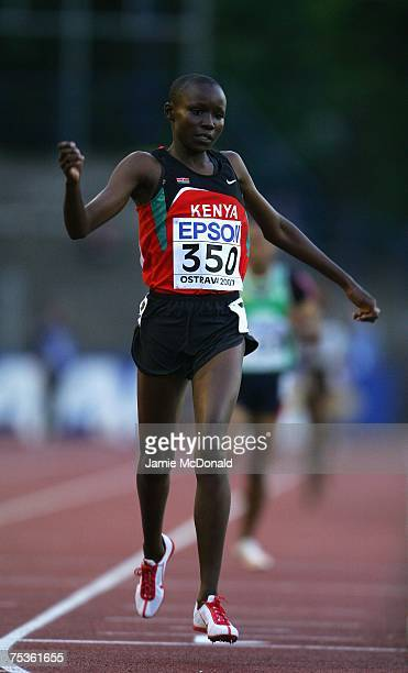 Mercy Cherono of Kenya wins the 3000m Final during the IAAF World Youth Athletics Championships at the City Stadium on July 11 2007 in Ostrava Czech...