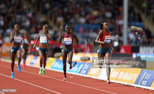 Mercy Cherono of Kenya wins the Women's 2 Mile event during the Sainsbury's Birmingham Grand Prix Diamond League event at Alexander Stadium on August...