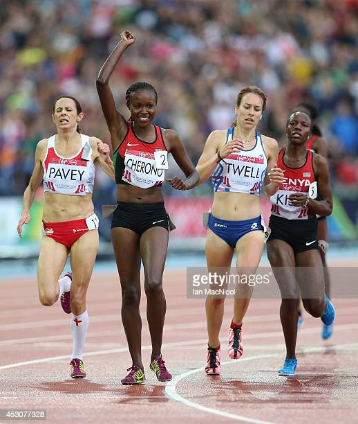 Mercy Cherono of Kenya wins the Women's 5000m at Hampden Park during day ten of the Glasgow 2014 Commonwealth Games on August 02 2014 in Glasgow...
