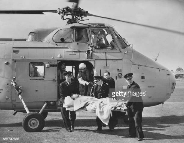Mercy Flight The Westland Whirlwind lands on Hull City Police sports ground Inglemire Lane Hull and the RAF man injured in the Wilsthorpe helicopter...