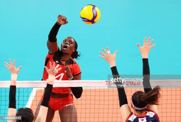 Mercy Moim of Team Kenya competes against Team South Korea during the Women's Preliminary - Pool A volleyball on day four of the Tokyo 2020 Olympic...