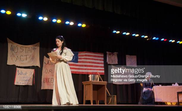 Mercy Otis Warren left played by Hanna Adams reads a letter to Abigail Adams played by Miranda Arendt during the student produced play Abby at...