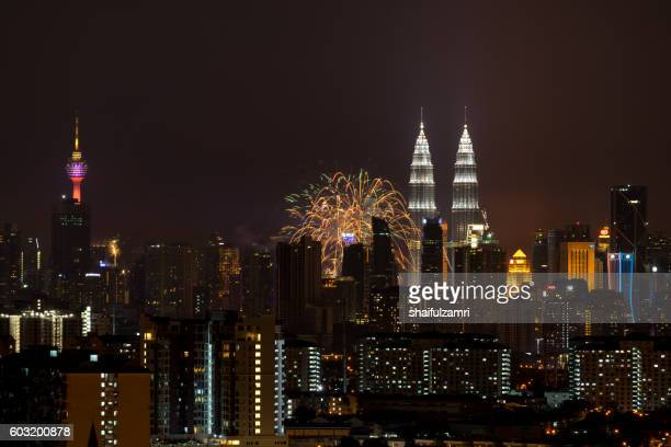 merdeka day fireworks display is held in commemoration of malaysia's independence day - shaifulzamri stock-fotos und bilder