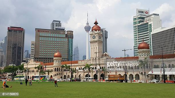 merdeka square in kuala lumpur, malaysia - menara kuala lumpur tower stock photos and pictures