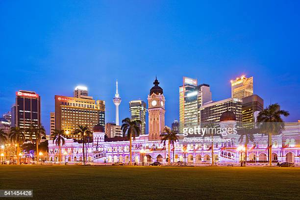 Merdeka Square, the Sultan Abdul Samad Building, on the background the town and the KL Tower