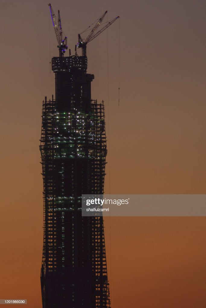 Merdeka118 is a 118-story, 644-metre mega tall skyscraper currently under construction in Kuala Lumpur, Malaysia. : Stock Photo
