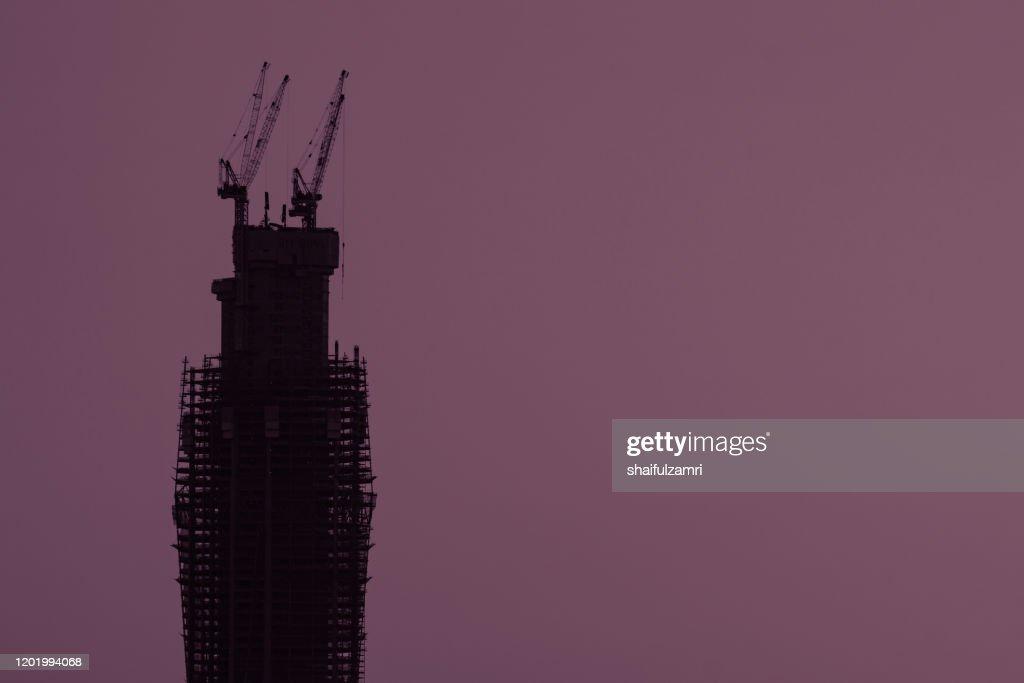 Merdeka118 is a 118-story, 644-metre mega tall skyscraper currently under construction in Kuala Lumpur, Malaysia. : Stock Photo