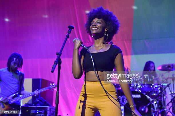 Mereba performs onstage during 2018 BET Experience Main Stage sponsored by Credit Karma on June 23 2018 in Los Angeles California