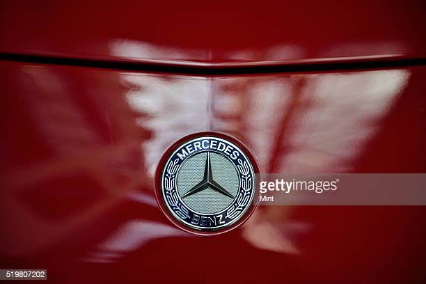 Merecedes logo on a car showcased at Mercedes showroom at Mathura Road on June 2 2015 in New Delhi India