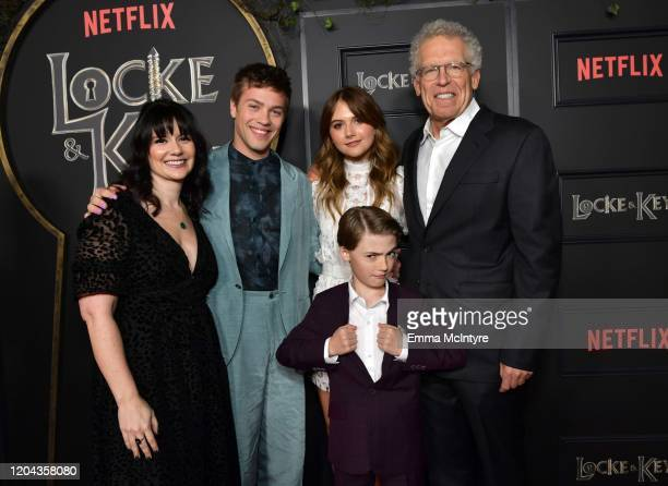 Meredith Averill Connor Jessup Emilia Jones Jackson Robert Scott and Carlton Cuse attend the Locke Key Los Angeles Premiere at the Egyptian Theatre...