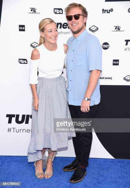 Meredith Hagner and John Early attend the Turner Upfront 2017 arrivals on the red carpet at The Theater at Madison Square Garden on May 17 2017 in...
