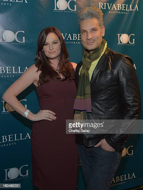 Meredith Johnson and Cameron Silver attend the Grand Opening of RivaBella Ristorante on January 31 2013 in West Hollywood California