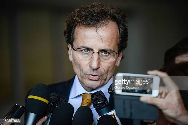 Meredith Kercher's family lawyer Francesco Maresca talks to the media at the new Courthouse at the end of the appeal trial of Amanda Knox and...